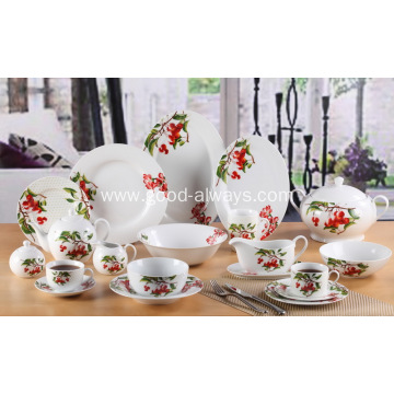 Cherry Blossom Decal White Porcelain Dinnerware