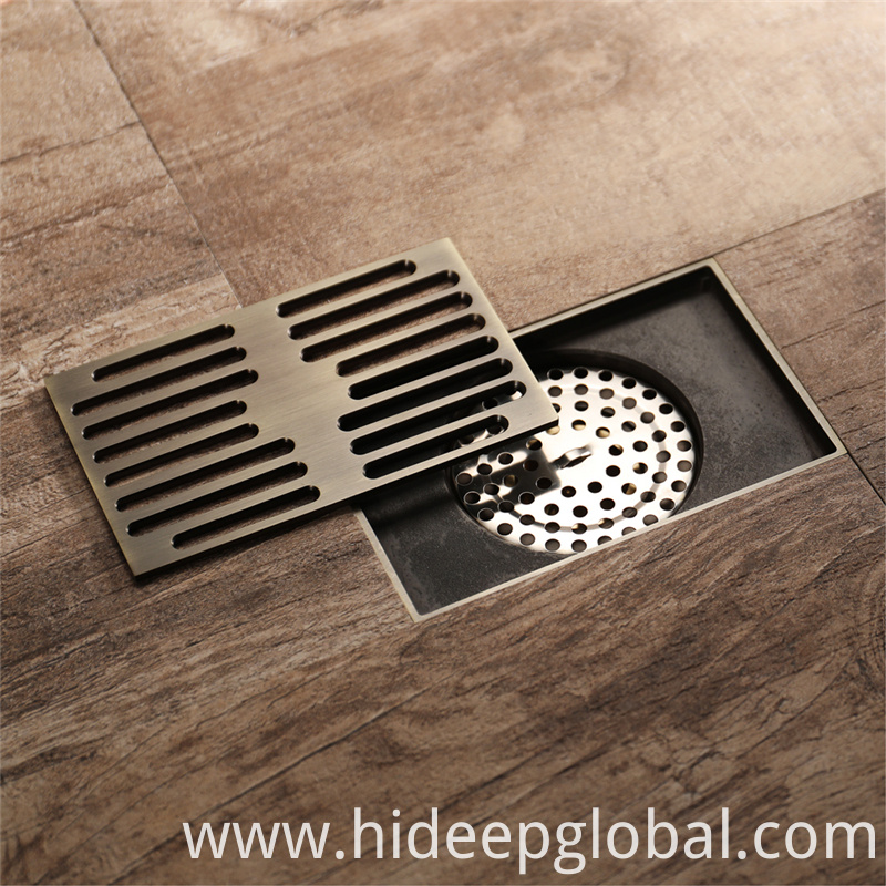 Linear Antique Brushed Floor Drain