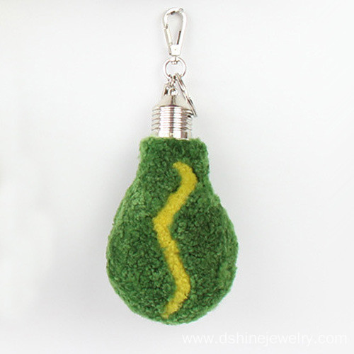 Wool Furry Keychains Lamp Bulb Shape Pom Poms Bag Keychain