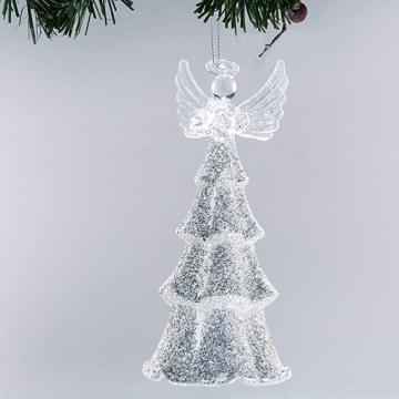 Glass Hand Made Blown Angel Christmas Ornament LED Light