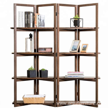 Modern Dark Brown Wood 4-Panel Open Bookcase Room Divider 4 Tier Display Shelf Rack