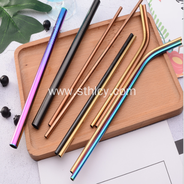 Stainless Steel Pure Color Round Drink Straws