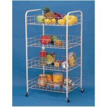OEM for Popular Kitchen Trolley 4-Tier Iron Wire Storage Cart supply to Portugal Manufacturer