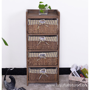 living room furniture set wooden corner cabinet with wickerwork basket