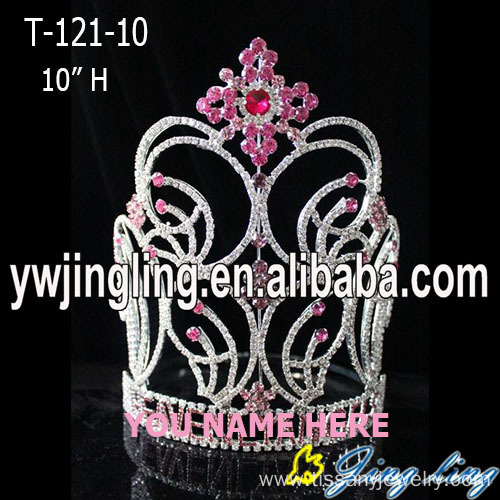 Wholesale Big Rhinestone Pink Snowflake Pageant Crown