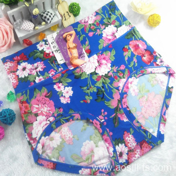 OEM new style wholesale plus size sexy women bright blue panty little printed flowers bamboo fiber underwear 6683