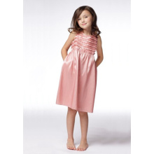 A-line Round Neck Knee-length Taffeta Flower Girl Dress
