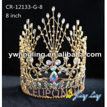 Cheap Rhinestone 8 Inch Gold Pageant Crowns
