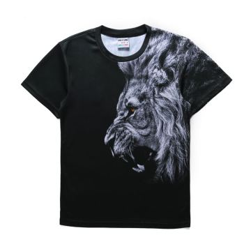 New Fashion Design for Nylon Polyester T Shirt Mens 3d lion Print T shirt 100 polyester shirts export to Puerto Rico Factories