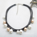 Multi Strand Pearl Necklace Leather Rope Shell Pearl Choker