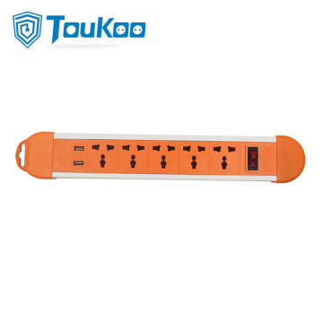 Universal 5 way power strip with USB Socket