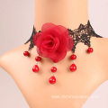 Fashion Lace Collar Necklace Red Rose Pearl Lace Necklace