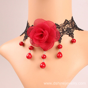 China for Black Lace Necklace Fashion Lace Collar Necklace Red Rose Pearl Lace Necklace export to Kazakhstan Factory