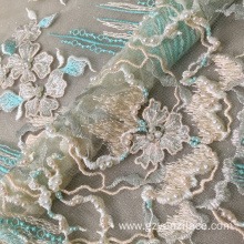Green Luxury Lace Handmade Beaded Fabric