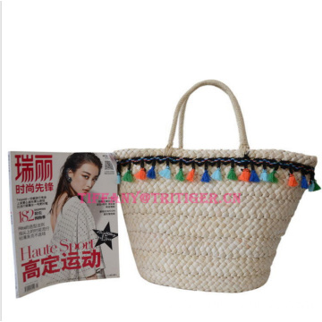 Eco-friendly Natural Corn Husk Straw Summer Beach Bag With Handles and fringe