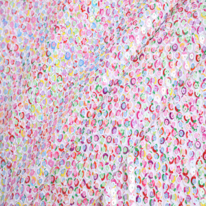 Hot Fashion 3mm+7mm Print Sequin Embroidery Fabric