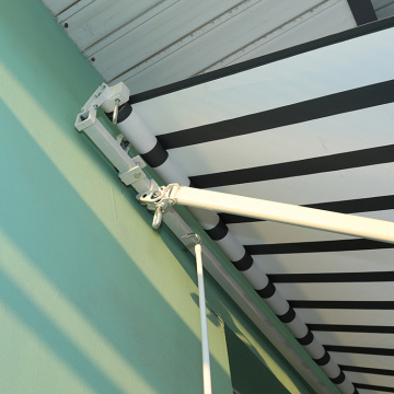 Retractable arms awning 4.0*1.5M Yellow and White Stripes
