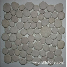 30.5×30.5cm White Polishing Pebble Stone Mosaic Tile