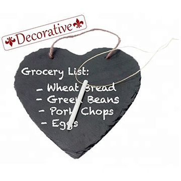 Kitchen Slate Heart Hanging Chalkboard with Chalk