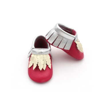 Red Bottom Leather Baby Toddler Moccasins Shoes