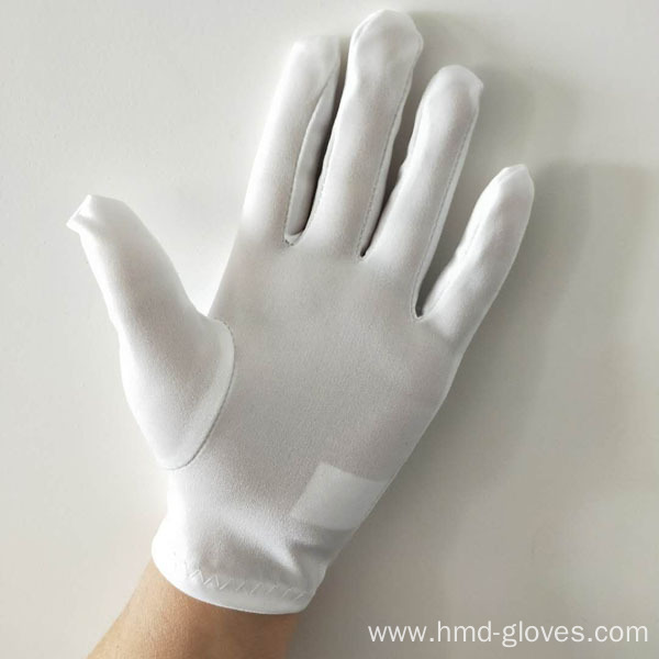 100% Polyester White Marching Band Gloves