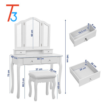 wardrobe mirrored dressing table designs with cushioned stool
