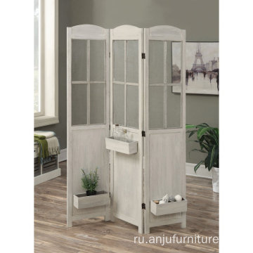 Antique White shabby screen garden room divider