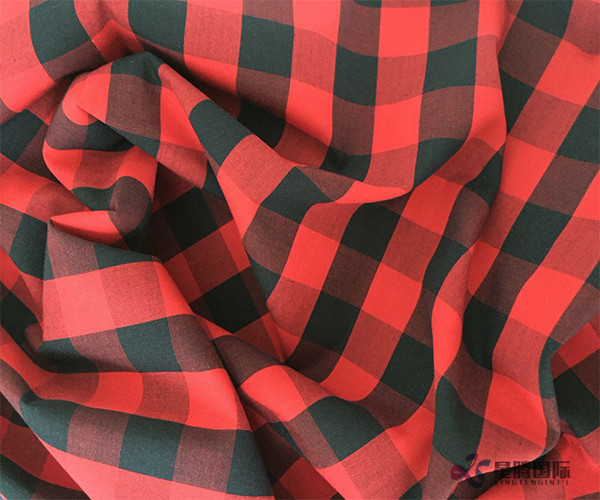 Casual Red Check Cotton Shirt Fabric