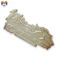Good Quality for Button Badge Printing Custom made globe Anniversary metal badge supply to Qatar Suppliers