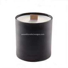 wood wick soy candle in glass jar
