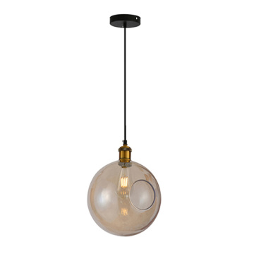 Indoor Glass Ball Pendant Brass Globe Pendant Light