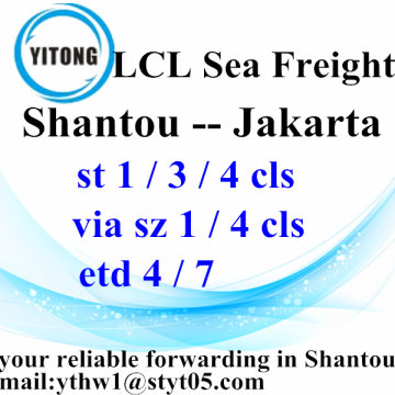 Personlized Products for Sea Freight LCL Shantou to Jakarta LCL Consolidate by Sea supply to Armenia Manufacturer