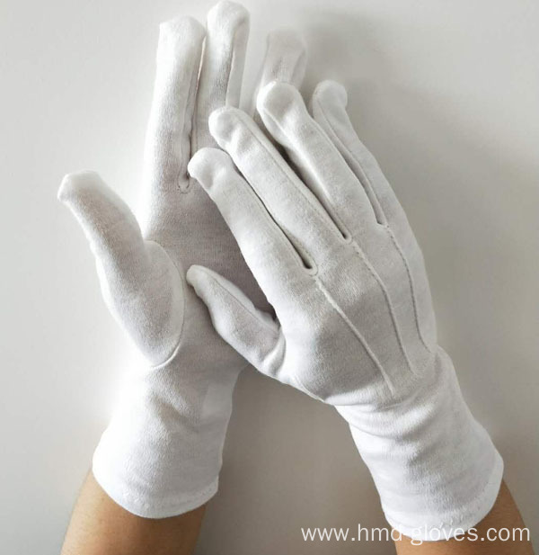 Long Marching Band Gloves/White Cotton Military Glove