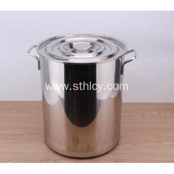 Stainless Steel With Lid Thickening And Deepening Bucket