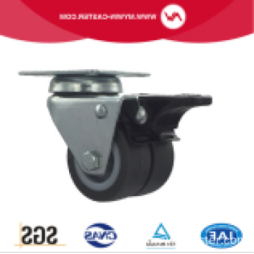 3 Inch Plate Swivel TPR Material With Brake small twin Caster