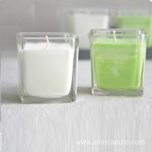 Hotsale square glass candle jar