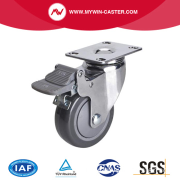 Chrome 3 inch 80Kg Plate Brake PU Caster