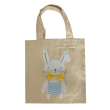 Burlap Easter bunny pattern tote bag