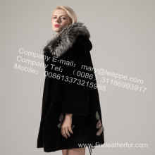 Fur Coat With Mink Flower In Winter