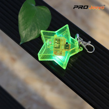 Reflective Fluo Yellow Star Shape LED Acrylic Keychain