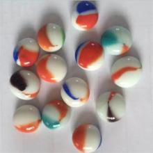 White opaque glass beads with petals