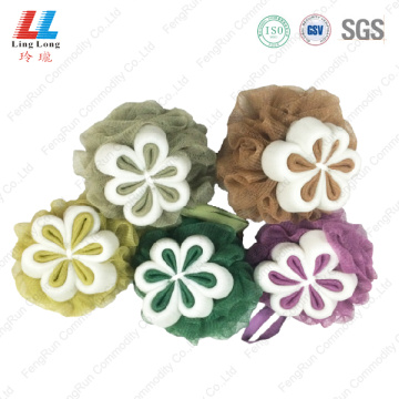 Flower colorful loofah scrub mesh foam sponge