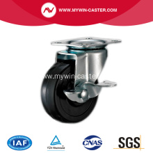 4'' Black Rubber Light Duty Industrial Caster with side brake