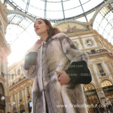 Women Reversible Cross Mink Fur Overcoat