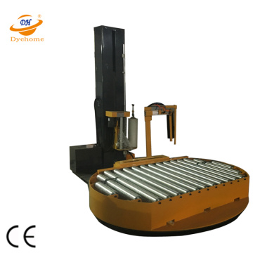 Motorised conveyor stretch film pallet wrapping machine
