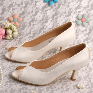 Super Lowest Price for Women Satin Shoes Private Label Open Toe Wedding Shoes Ivory supply to India Wholesale