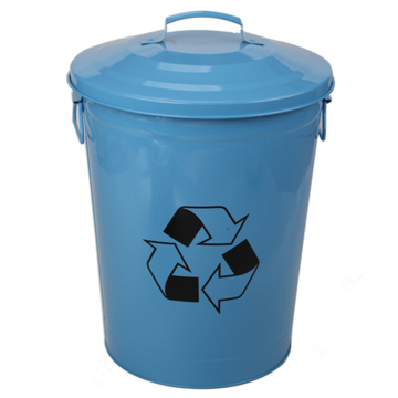23L Eco-friendly Blue Trash Can with Lid