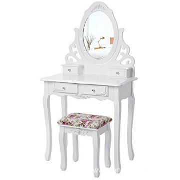 White Dressing Table Set With Mirror And Stool
