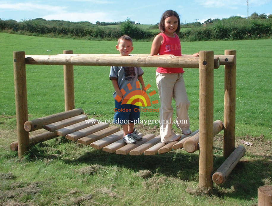 wooden holder balance bridge playground for children