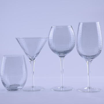 Gridding Pattern Clear Glass Wine Set
